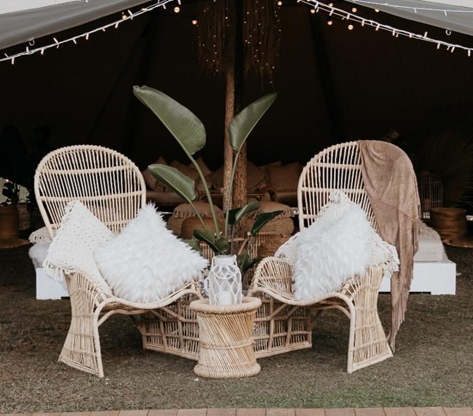 Natural Peacock chair registry setting - Splash Events, Noosa & Sunshine Coast