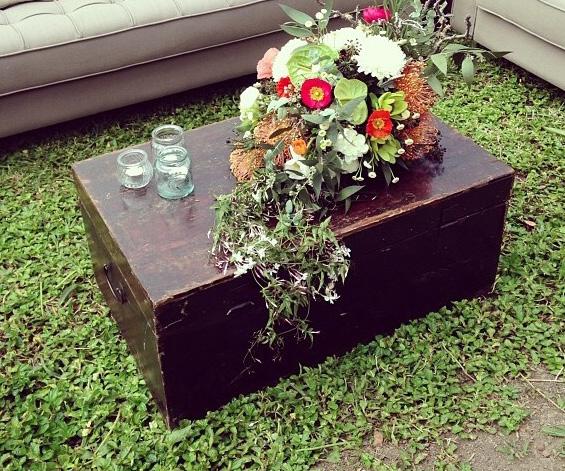 Dark wood trunk coffee table - Splash Events, Noosa & Sunshine Coast