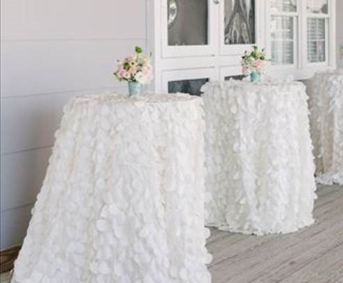White ruffle cocktail table - Splash Events, Noosa & Sunshine Coast