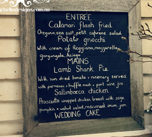 Wooden menu board - Splash Events, Noosa & Sunshine Coast