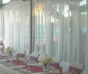 White chiffon curtain - Splash Events, Noosa & Sunshine Coast
