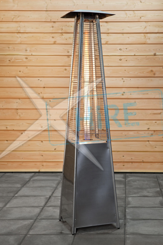 Pyramid' flame gas powered patio heaters with 1 x gas canister
