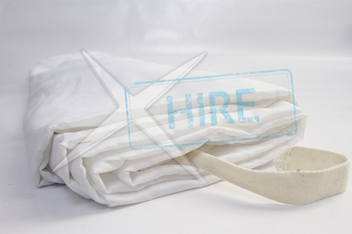 Gathered White Trevira Drape 10m wide by 5m drop