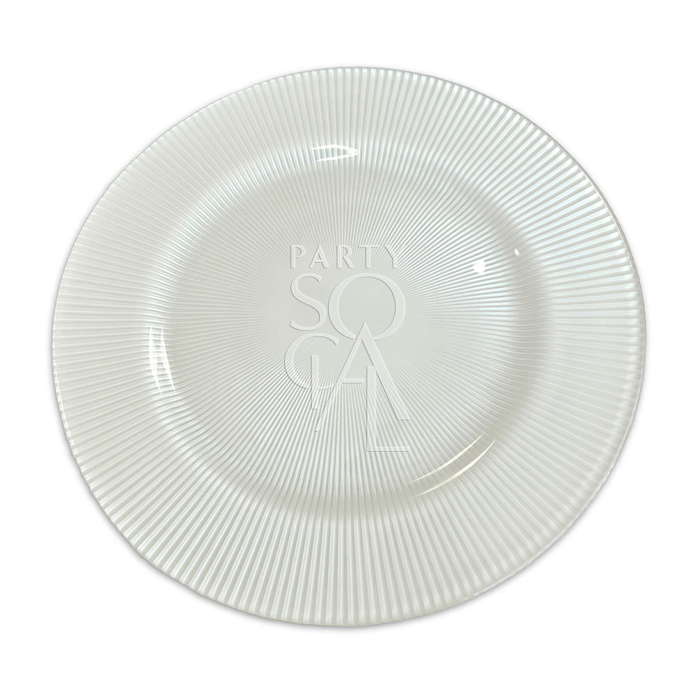 Charger Plate - White Lined 13