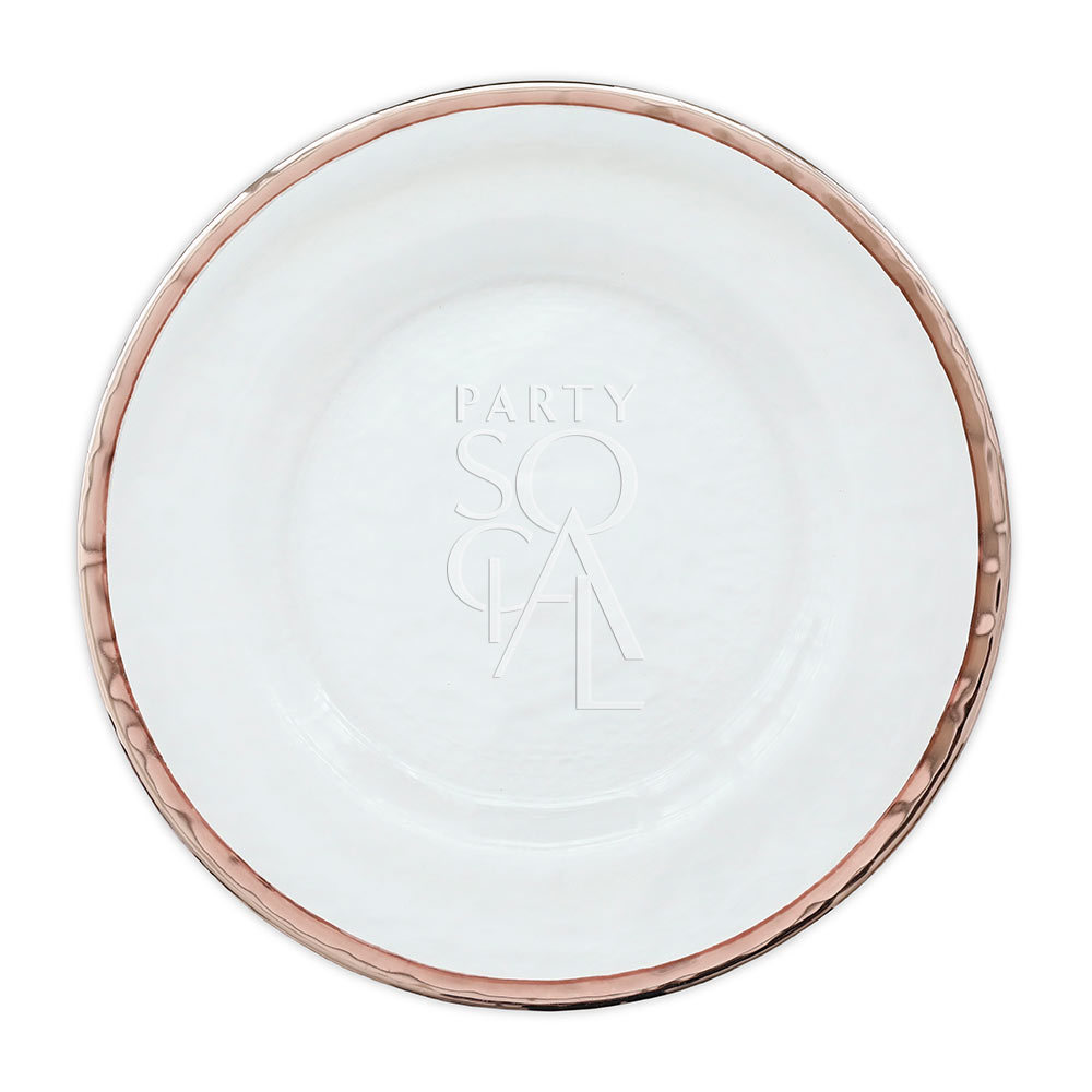 Charger Plate - Rose Gold Rim 13