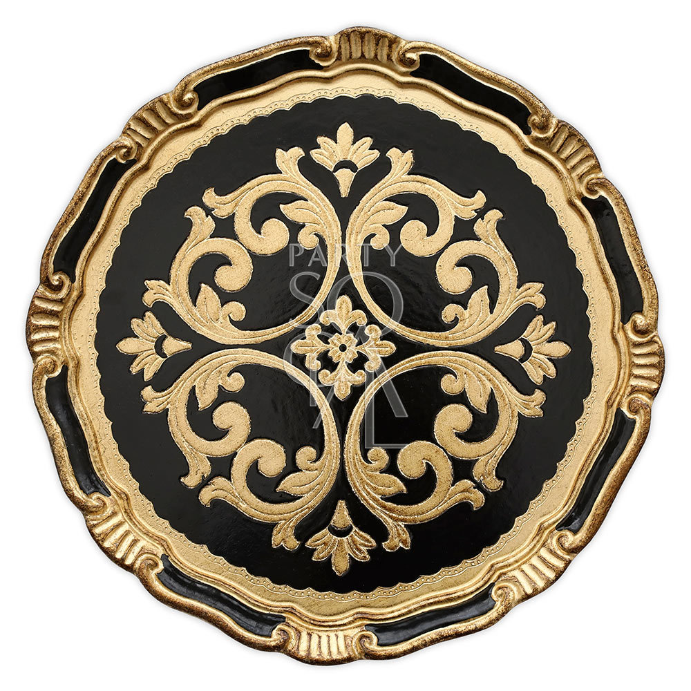 Charger Plate - Florentine Antique Black & Gold 13