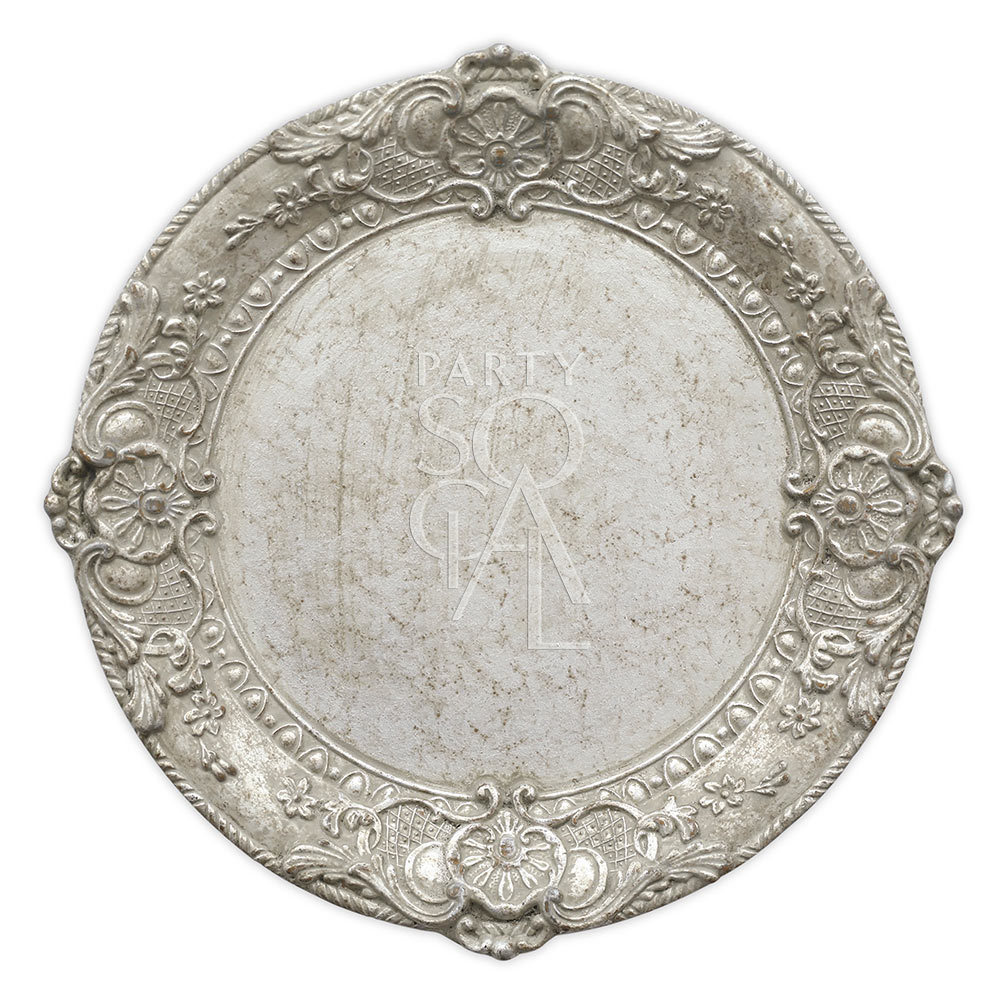 Charger Plate - Florentine Antique Wood Silver 13