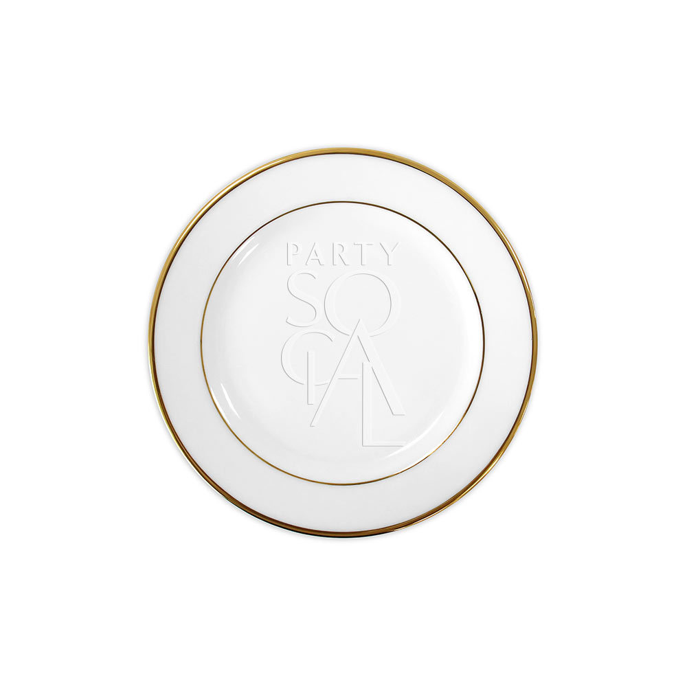 Modern China w/ Gold Rim Dessert Plate 7.5