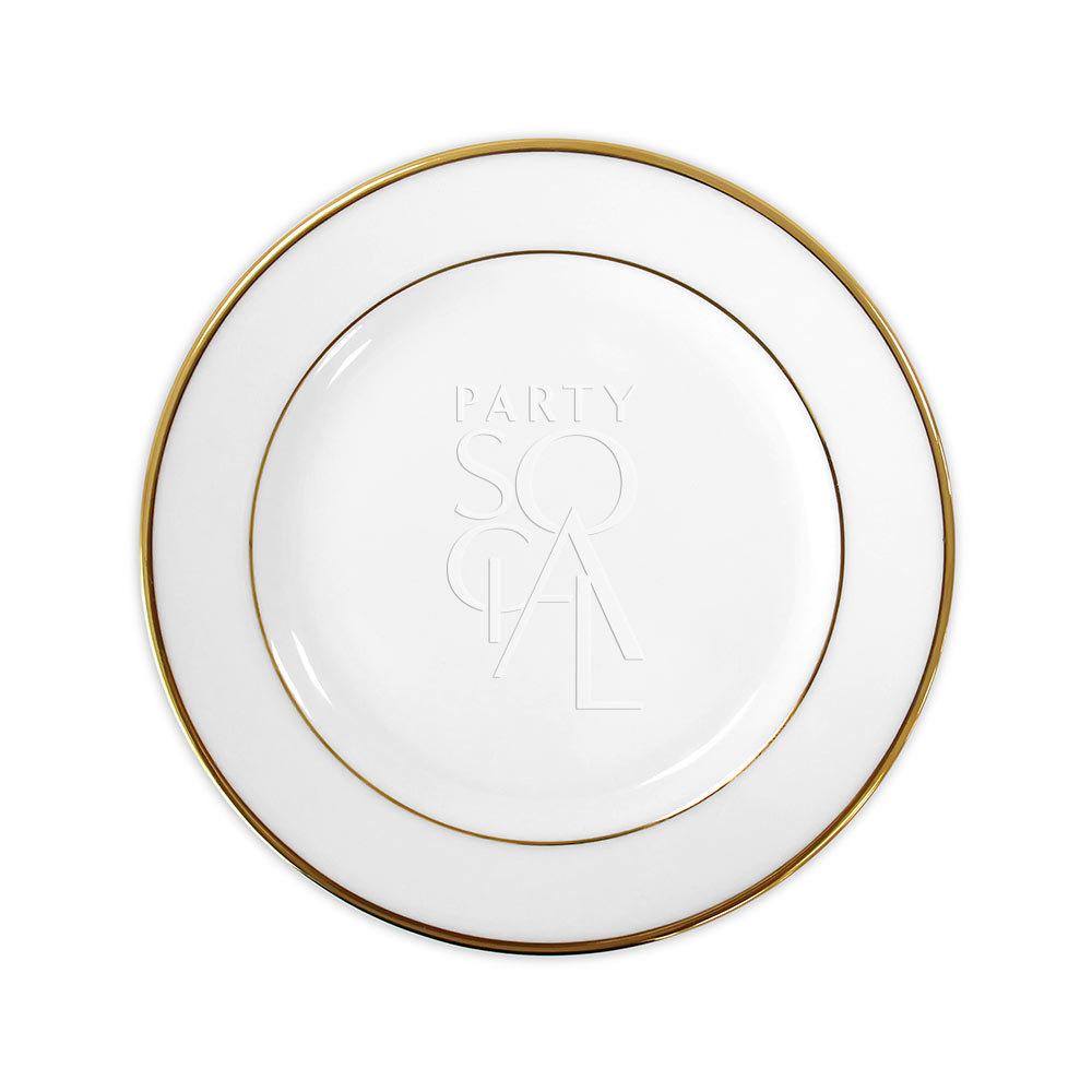 Modern China w/ Gold Rim Dinner Plate 10.5