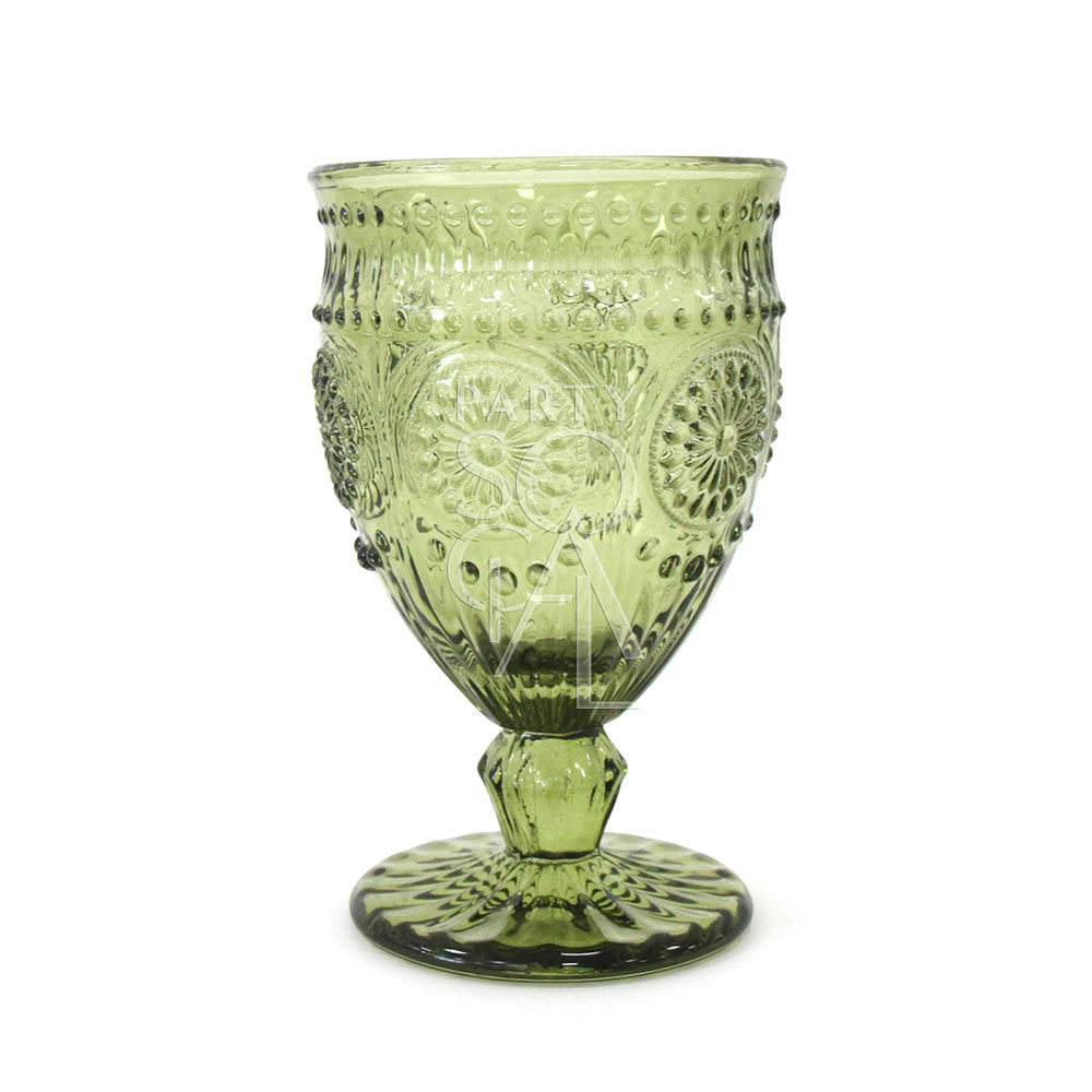 Vintage Olive Green Wine/Water Glass Small
