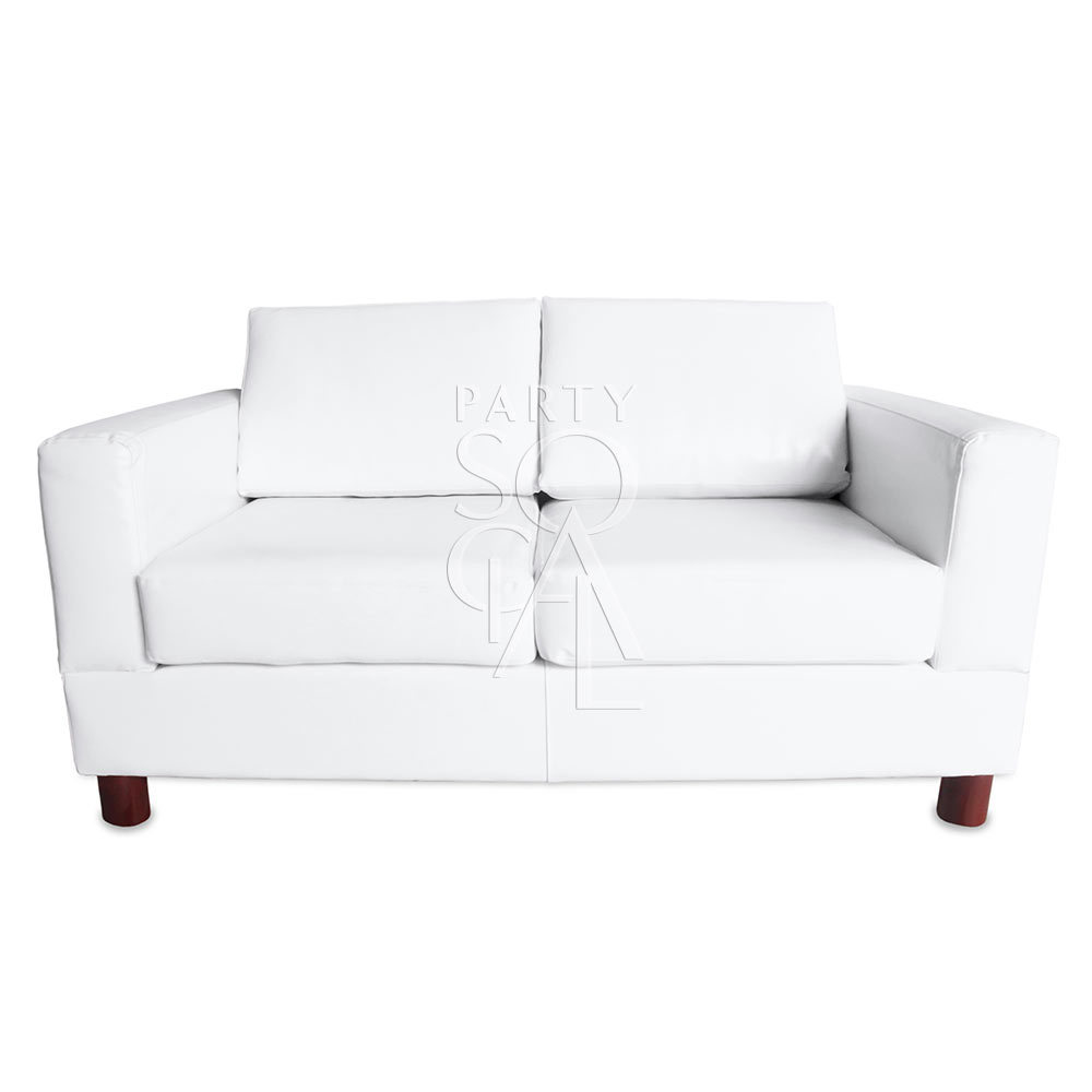 White Leather 2 Seater Lounge