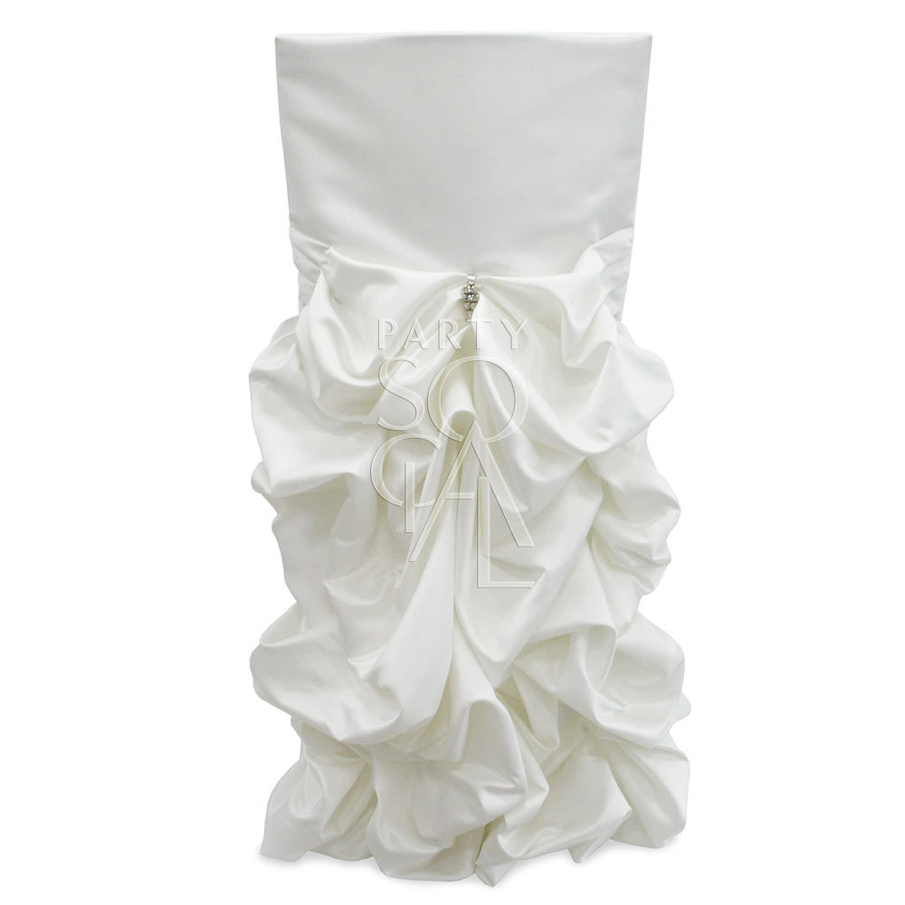Chair Cover Off White Satin Draped Chameleon