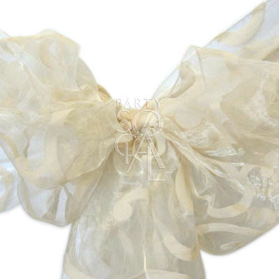 Chair Sash Cream on Cream Organza