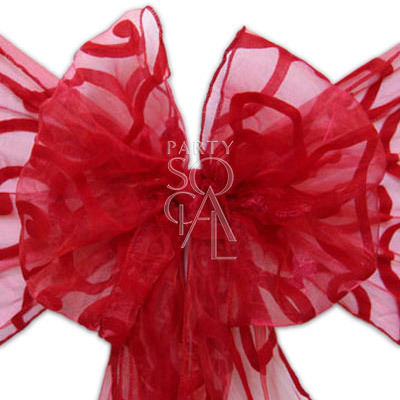 Chair Sash Red on Red Sheer Organza