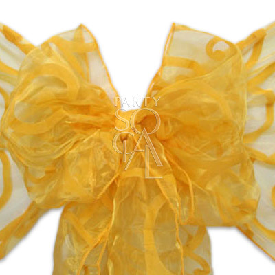 Chair Sash Yellow on Yellow  Sheer Organza