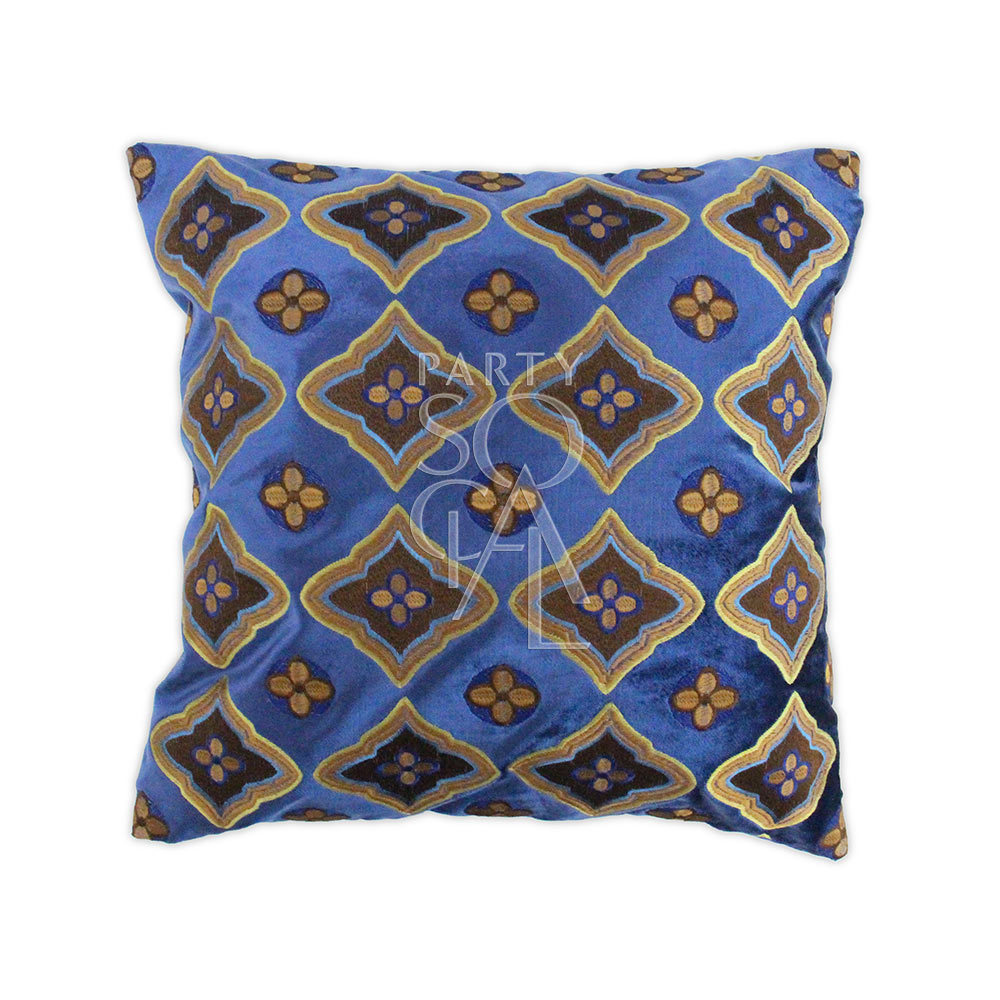 Cushion - Patterned Blue & Earth Tones 40x40cm