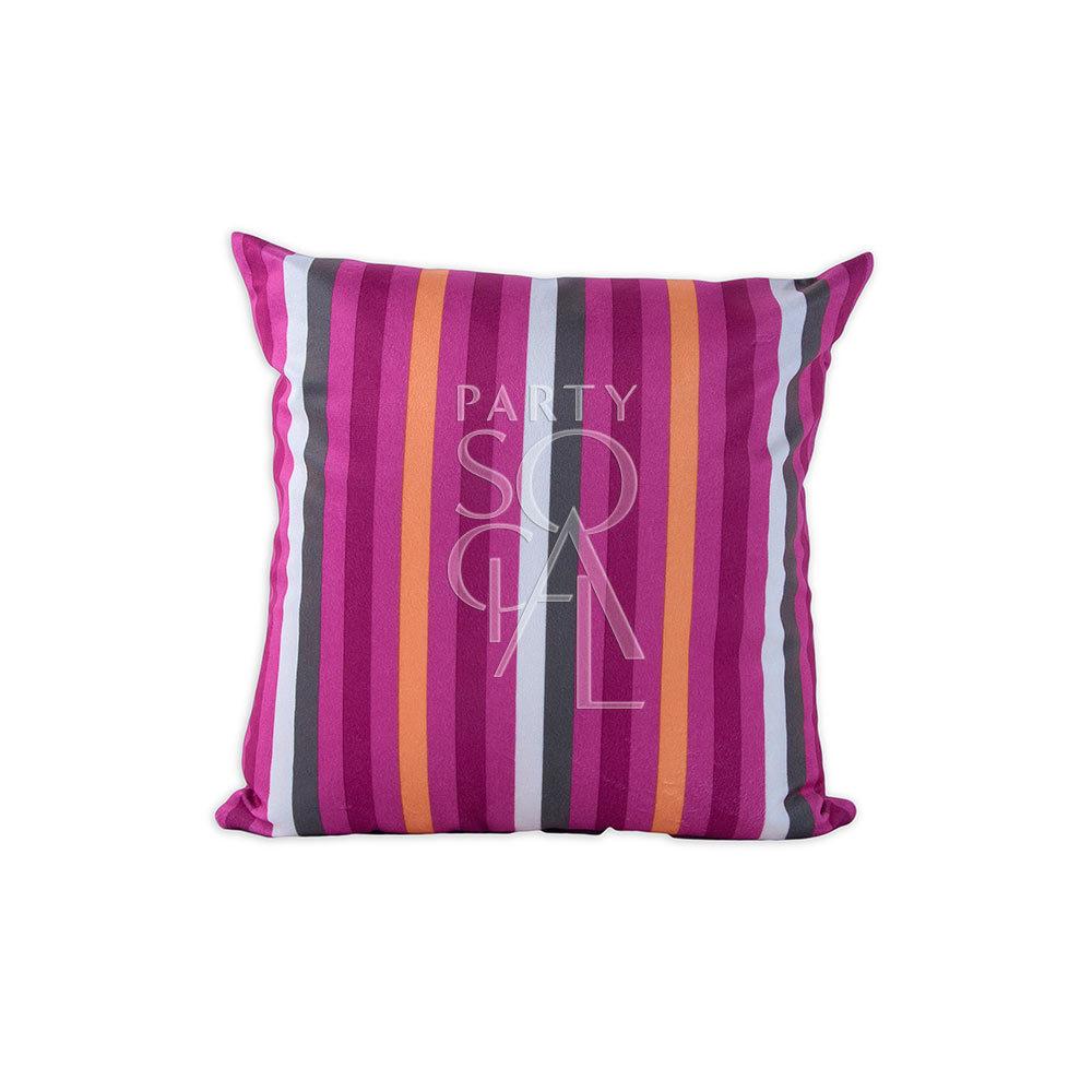 Cushion Pink Lined Print Velvet 40x40cm