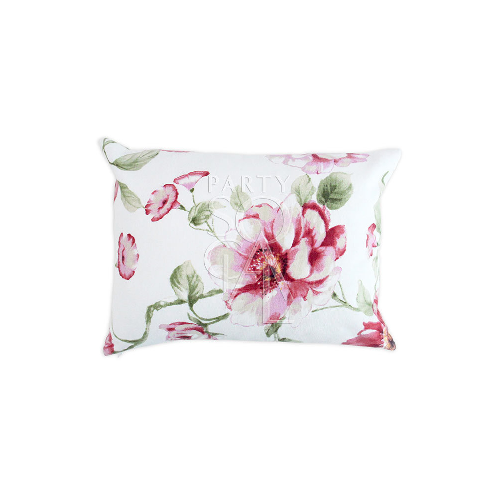 Cushion White & Large Pink Flowers 40x30cm