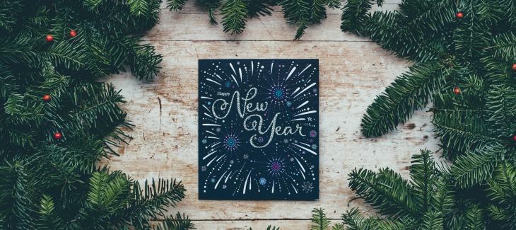 New Year Sign with pine needles