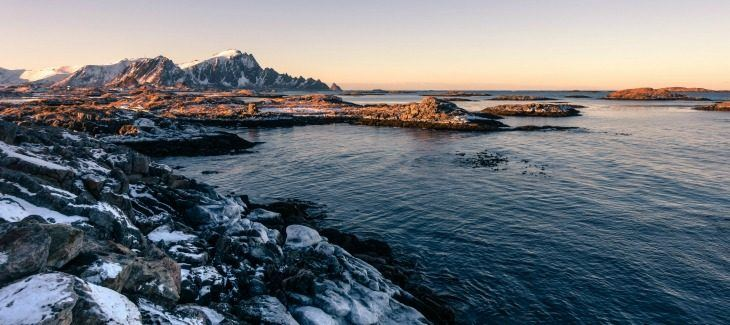 snowy coast line