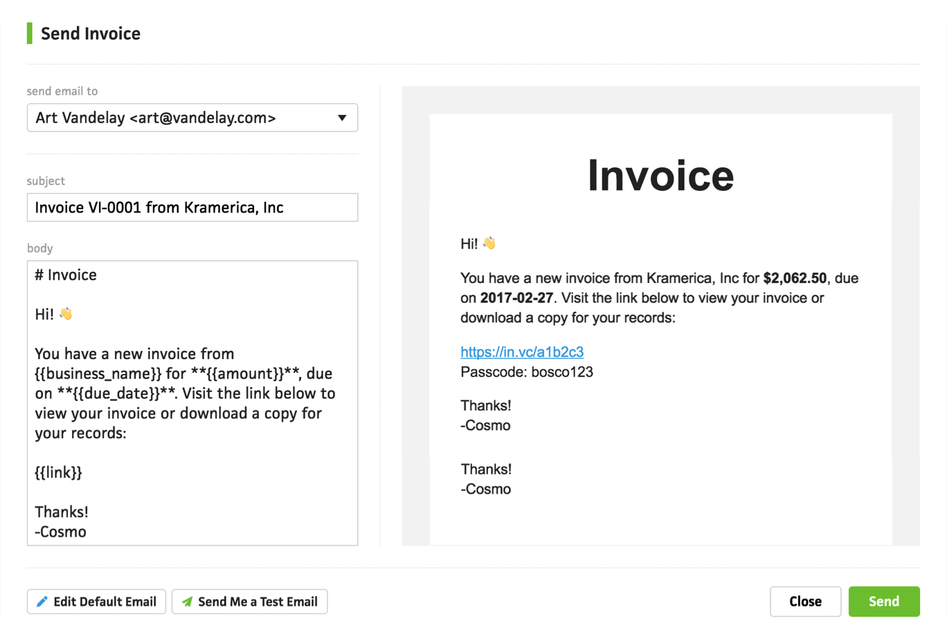 Sending invoices cushion for How to send invoice to client