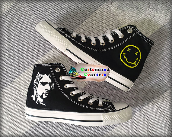 Kurt Cobain Shoes - converse shoes - custom converse - customized converse