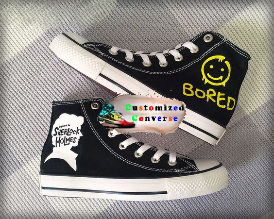 Sherlock Holmes Shoes - converse shoes - custom converse - customized converse