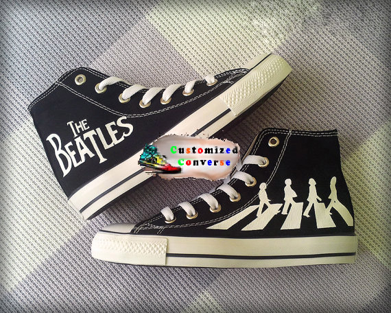 Beatles Shoes - converse shoes - custom converse - customized converse