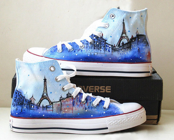 Paris Themed Shoes - converse shoes - custom converse - customized converse