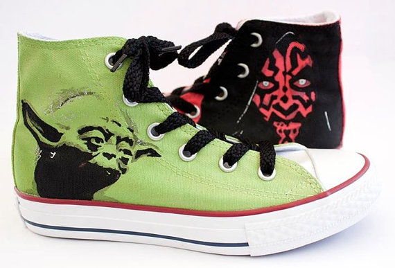 Star Wars Yoda Shoes - converse shoes - custom converse - customized converse