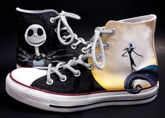 54e13c6ba469 Jack Skellington Shoes 2 - converse shoes - custom converse - customized  converse