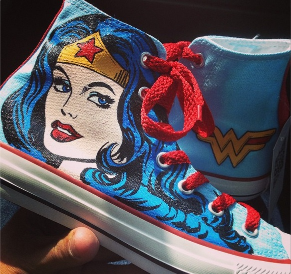 Wonder Woman Shoes - converse shoes - custom converse - customized converse
