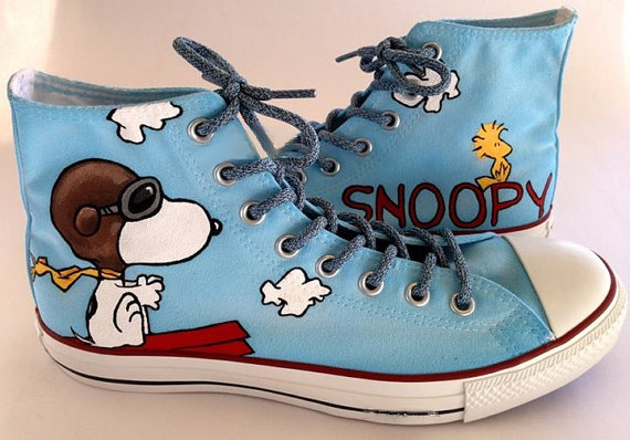 Snoopy Converse Sneakers | Snoopy shoes, Painted shoes