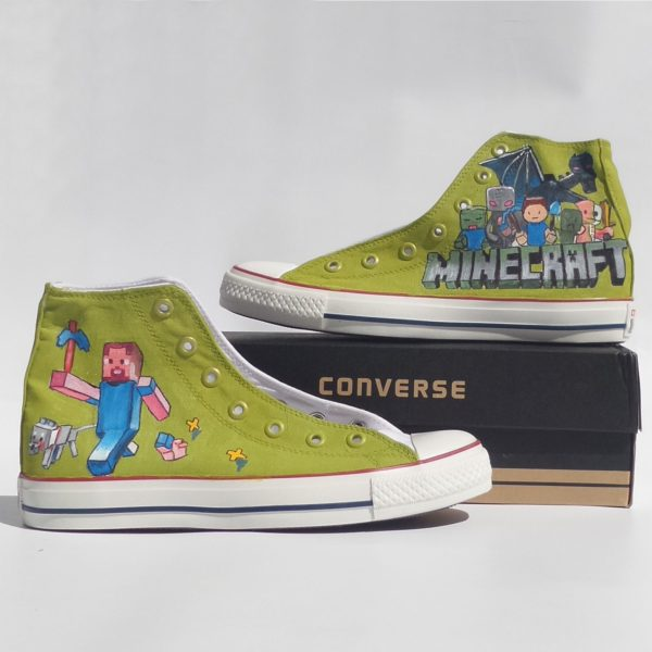 Minecraft Shoes - Handpainted Custom Converse-Hand Painted Shoes