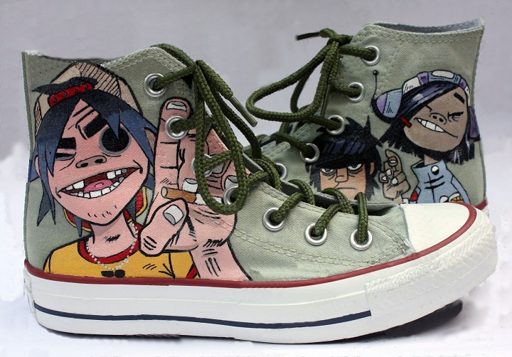 best service da92e 4735b Gorillaz Shoes - Handpainted Custom Converse-Hand Painted Shoes