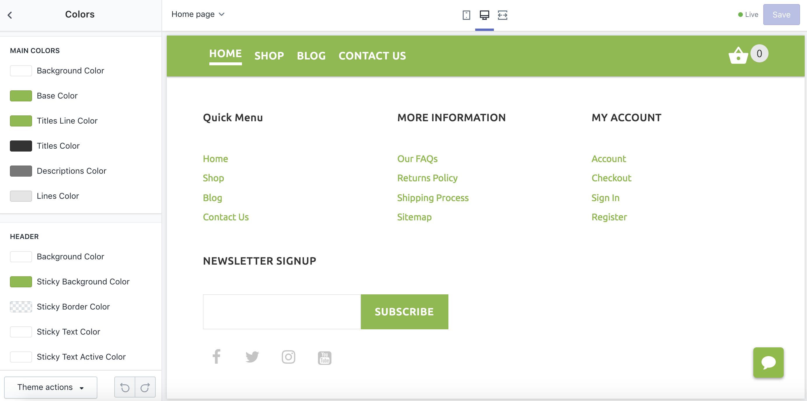 customize website online store