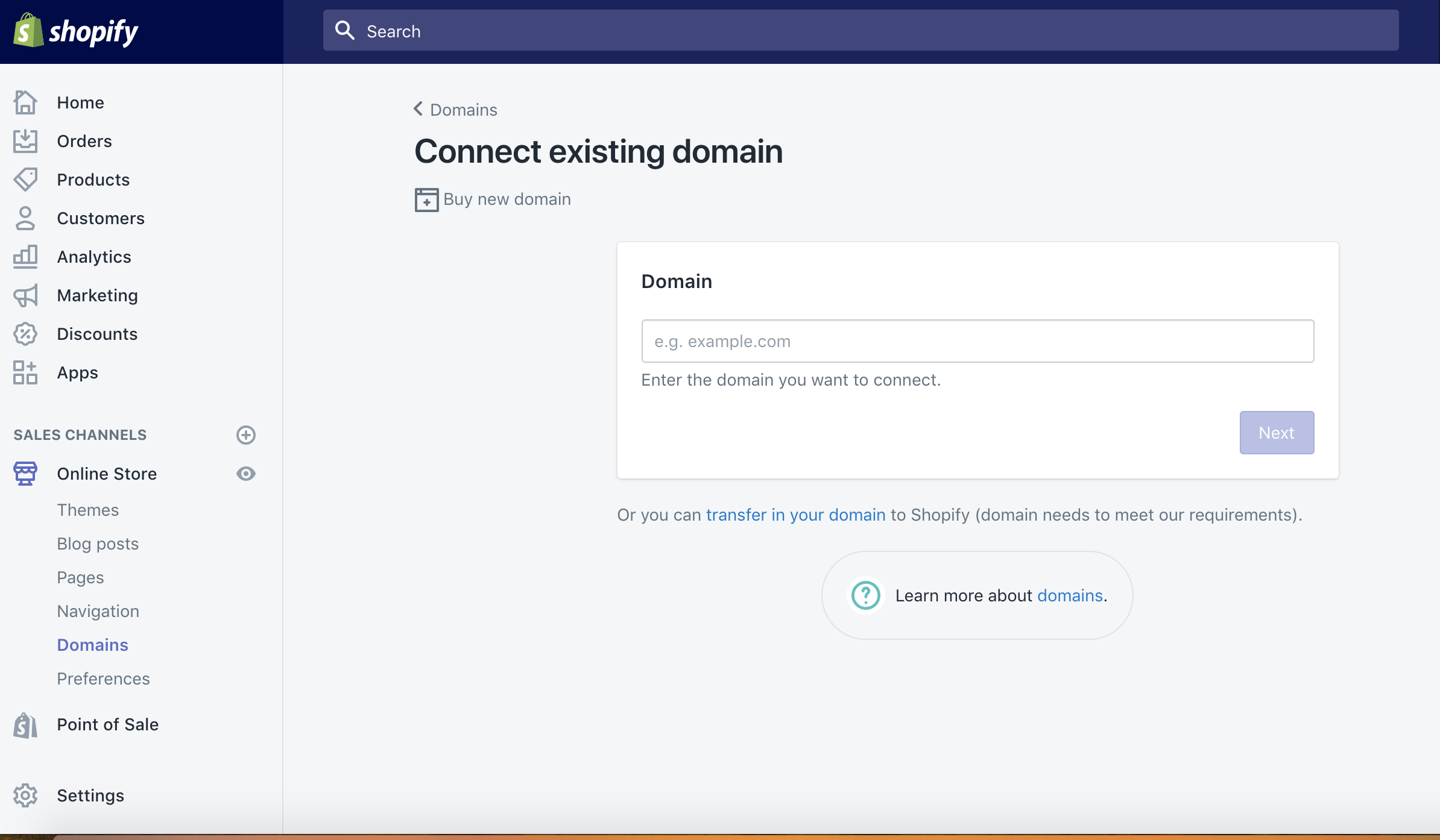 start a website and connect your domain to shopify
