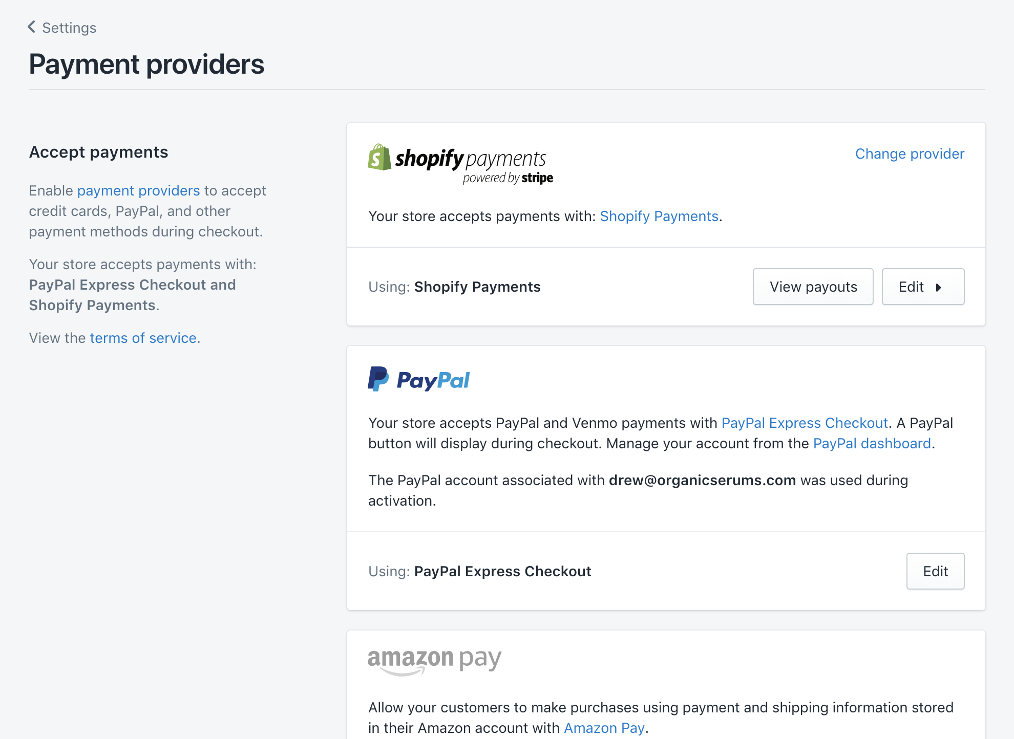 Payment providers for online store