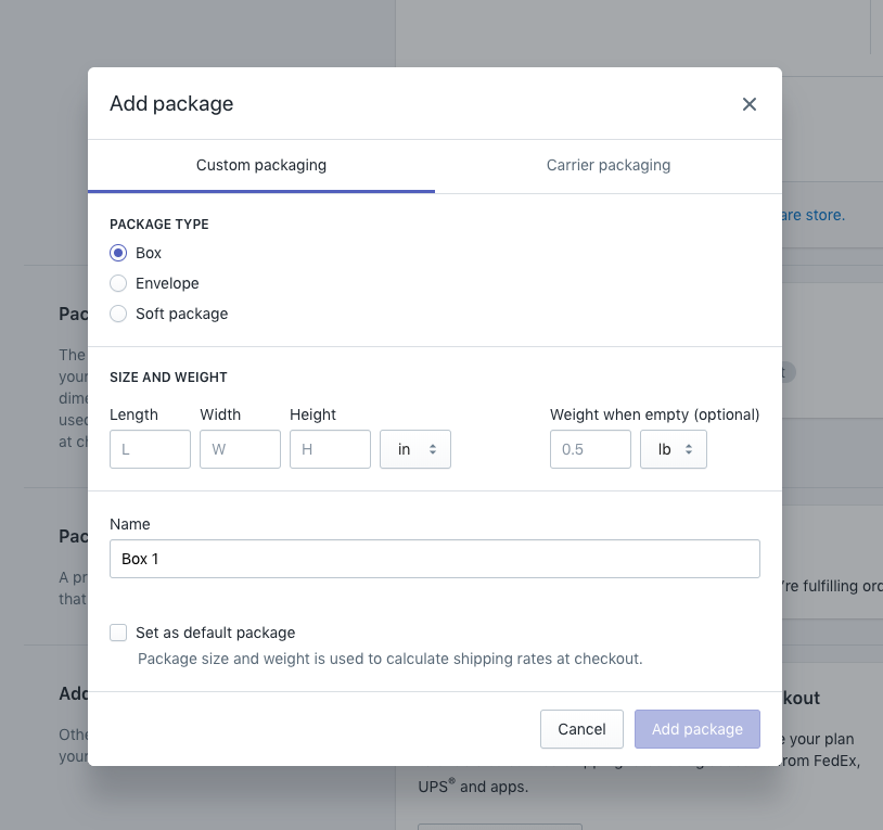 Shopify shipping package settings for starting your online store