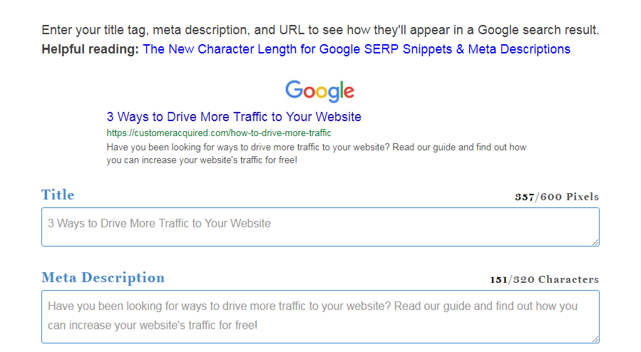 SERP Preview for Google to get website traffic