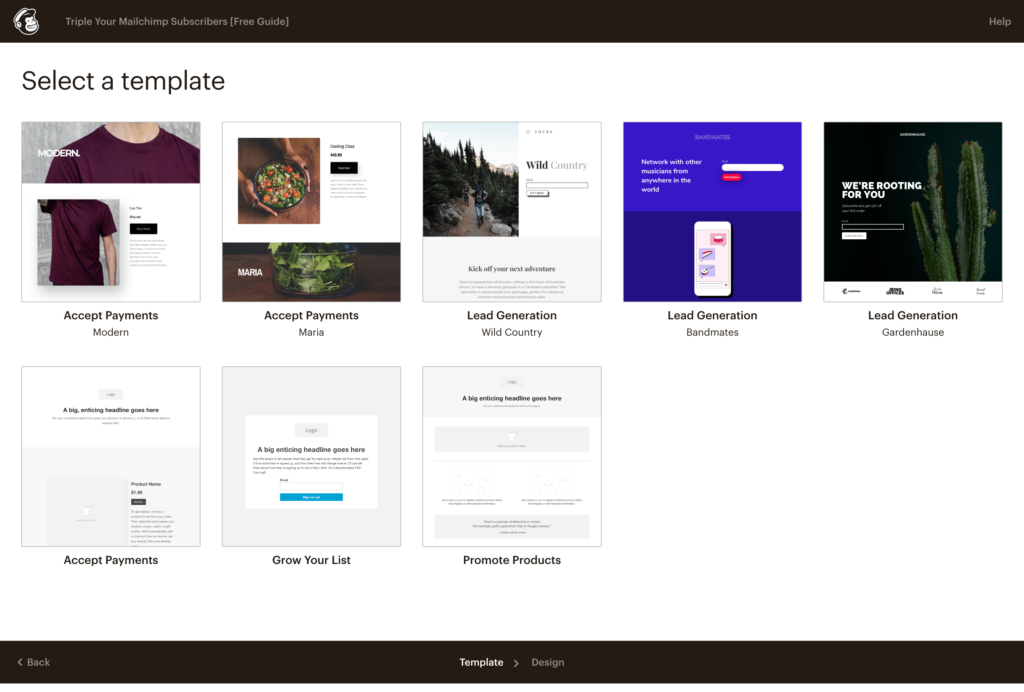 Mailchimp Landing Page Examples