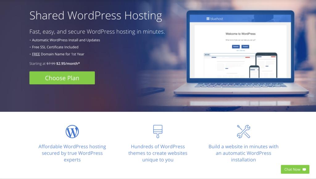 BlueHost Shared WordPress Hosting