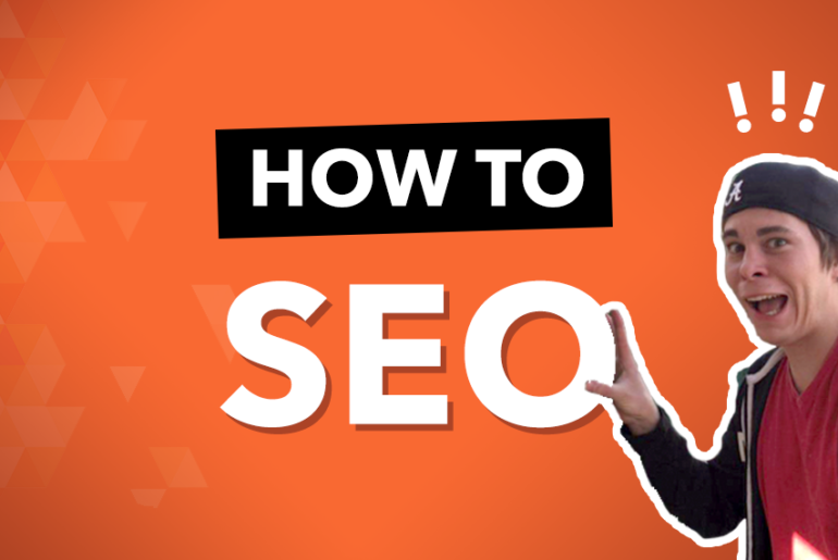 How to SEO your Website Orange Graphic with person holding seo