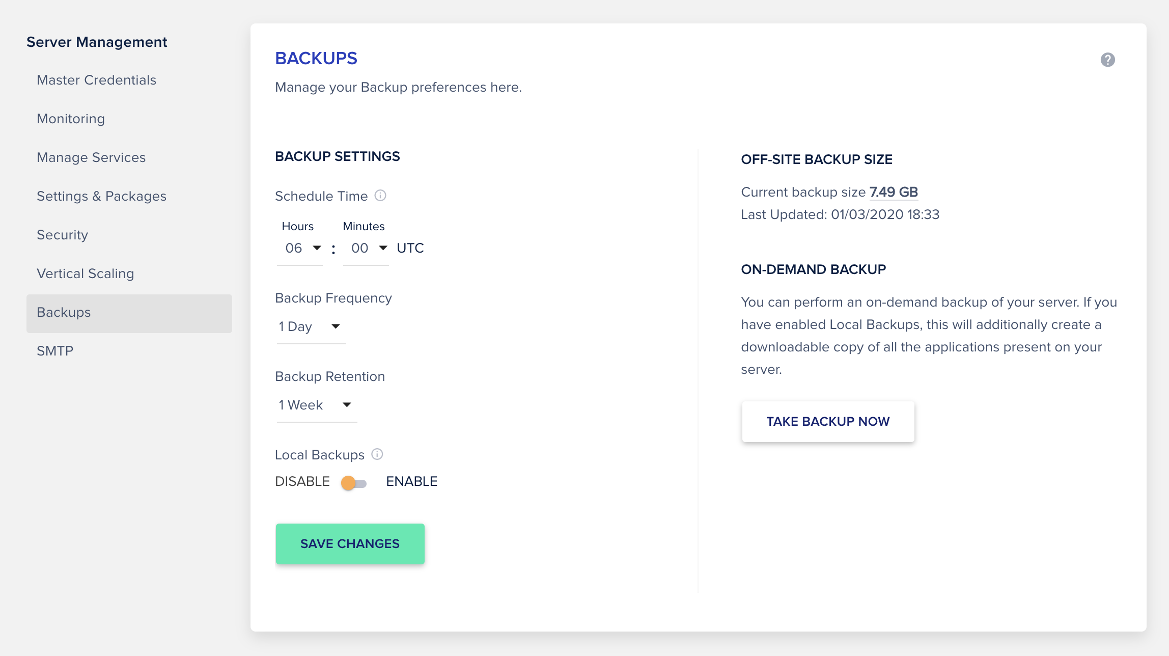 Manage backups locally and offsite from cloudways dashboard