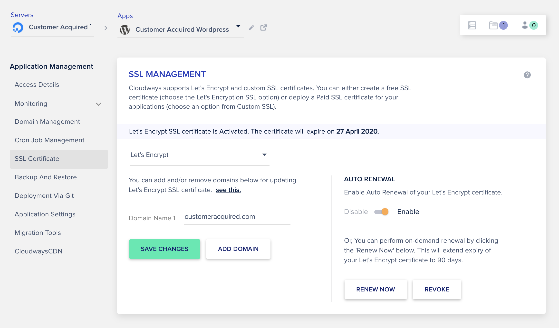 SSL Management to add free SSL certificate to your website for the HTTPS connection