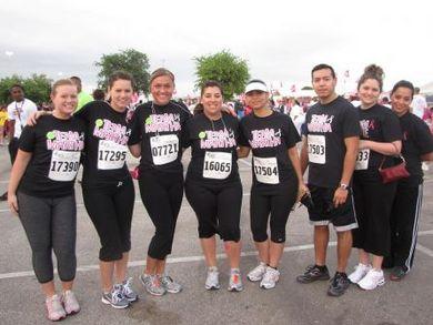 "Team Photo, Back Of Shirt Says ""Walk Race Save"" T-Shirt Photo"