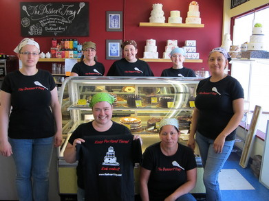 New Shirts + New Case= Happy Staff And Tasty Cake! T-Shirt Photo