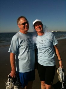Tom And Gina At Their 5 K Wedding Day Run T-Shirt Photo