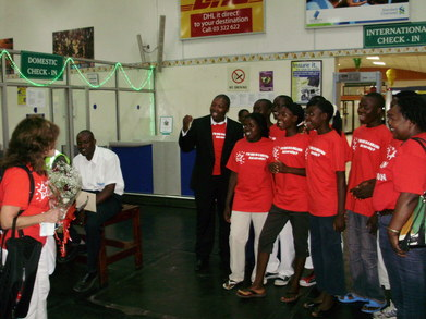 African Street Orphans Christmas Day Singing At Airport T-Shirt Photo