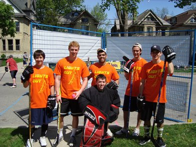 """Lights Out"" Road Hockey Team T-Shirt Photo"